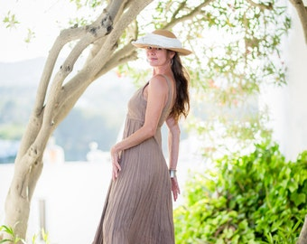 Linen Dress / Tan Dress / Summer Dress / Pure Linen / Crinkled Linen /Long Linen Dress