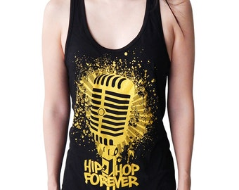 Graphic Villain Hip Hop Forever Microphone  Racerback - Free Shipping!