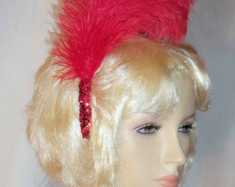 Red French Plume Feathers and Sequin Trim Showgirl Headband Headpiece
