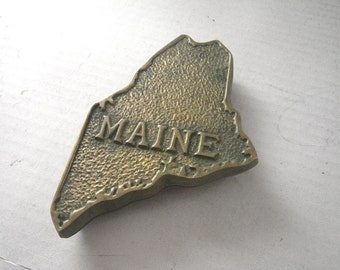 Fritz Brass State of Maine Trinket Box - Heavy - Map Outline