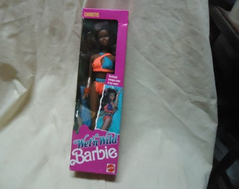 Vintage  Wet 'n Wild Christie 1989 #4121 Barbie Doll by Mattel Sealed in Box, collectable  great Christmas gift