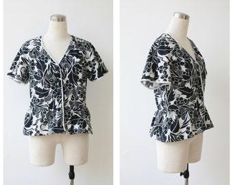1980s does 1940s black & white cotton peplum blouse M L, peplum top medium large