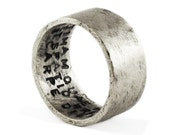 Mens Silver Ring Personalized Hand Stamped Rings