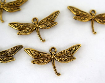 5PCS - Dragonfly Charms - Antique Gold Toned - 31x17mm - C20