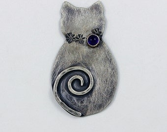 "Handcrafted Sterling Silver Sassy Cat Pendant ""Cattitude"" Whimsical Critter Handcrafted Artisan Jewelry OOAK Design 7226486152515"
