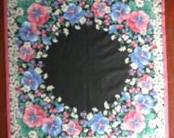 1980s Chalkboard Pansy Pansies Daisy Daisies Flower Floral Country Folk Art Quilt Wall Hanging Pillow Fabric Craft Panel - 2pc SET