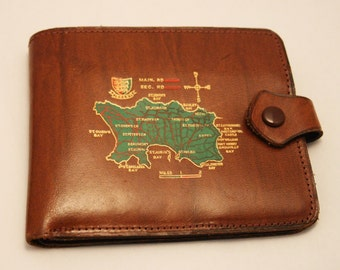 Vintage leather wallet. Jersey wallet. Bank notes. Brown hide.