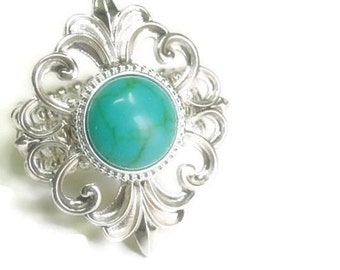 Turquoise Stretch Ring - Swirl Filigree - Adjustable Ring - Country Western - Cowgirl - Silver - Boho Chic - Hippie - Turquoise Jewelry