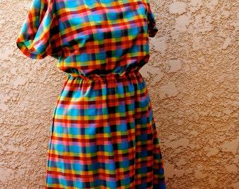 Vintage 1970's Rainbow Plaid Dress
