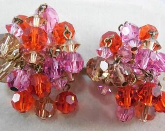 Vintage Signed Maravella Orange Pink & Yellow Crystal Earrings