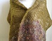 Earthy Hand Knit Wrap / Handspun Wool Shawl / Hand Dyed Wool Shawl / Country Knitted Shawl / Boho Wool Big Scarf
