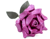 Leather rose purple third Anniversary wedding gift Long Stem leather flower Valentine's Day 3rd Leather Anniversary Mother's Day Prom