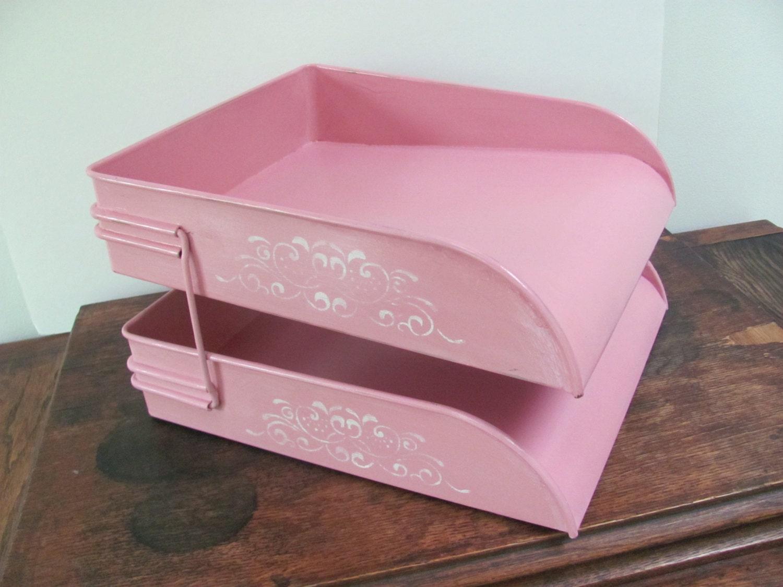 Pink metal desk organizer vintage metal in box shabby chic - Pink desk organizer ...