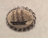 Vintage Scrimshaw Brooch set in Silver