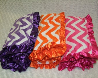 Chevron Ruffly Minky Blanket- Ships in 1-3 Days