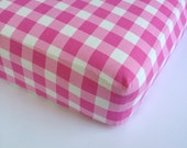 Baby Girls Bedding - Gingham Fitted Crib Sheet - Standard or Mini Sheet - Changing Pad Cover / Pink Crib Sheet / Fitted Baby Sheet