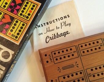 Cribbage Board wood Vintage 1968 by E S Lowe