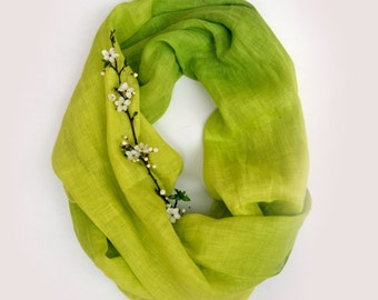 Pure Green Linen Scarf  - Hand Dyed Linen Scarf - Infinity Scarf - Green Scarf - Fashion - Green Linen Shawl - Gift