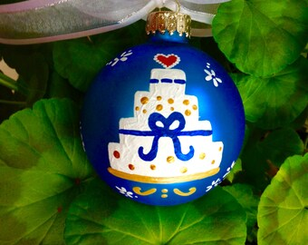 Wedding Cake Ornament - Personalized Wedding Gift for Couple - Just Married - Hand Painted Glass Christmas Ornament, Mr. and Mrs. Bauble