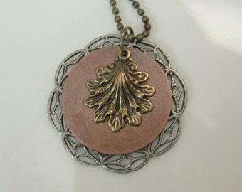 Gold Leaf, Copper Disc Nature Pendant OOAK Handmade