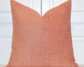 Decorative Pillow Cover - Star Diamond Chenille Accent - Lattice - Sofa Pillow - Geometric Pillow - Orange Papaya
