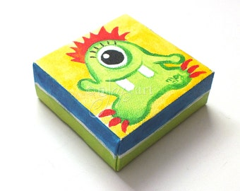 Monster Art, Daily Doodle Painting, 6/12/15 4x4 Miniature acrylic canvas art