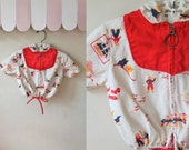 vintage toddler jacket - AT SEA novelty print beach cover up  / 2T