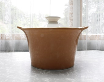Vintage Shawnee Pottery Peach and White Covered Casserole Dish