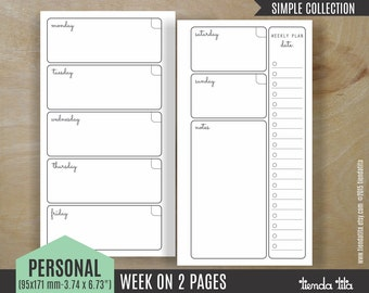PERSONAL Week on 2 pages | Simple Collection | Filofax Personal / Kikki k Medium inserts / personal travelers notebook | PDF files