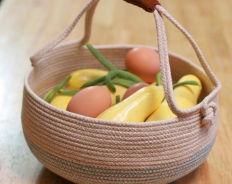 Large Coiled Rope Harvest Basket with Leather Handles
