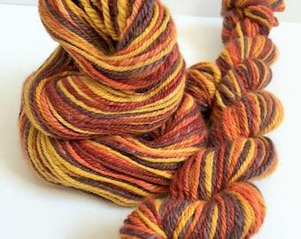 "Handspun Yarn  -- ""Bonfire"" -- camel / merino / silk -- 206 yards sport weight"