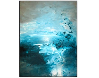 Beautiful Gray Teal Aqua Abstract Art Painting. Modern Wall Decor. Original Ocean Wave Art. Fluid Modern Abstract Painting. Aqua Blue Art.