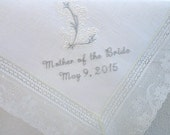 White Irish Linen Lace Handkerchief with Classic 1-Initial Zundt Monogram, Mother of the Bride/Groom and Date