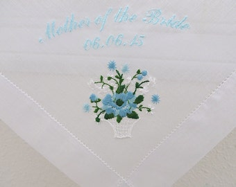 Wedding Handkerchief:  Mother of the Bride with Date on Swiss Cotton Flower Basket Embroidery Handkerchief