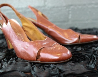 Vintage Womens Brown Leather Sling Back Chunky Heel shoes by Shoe Classics JC Penny J