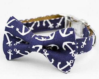 Bow Tie Dog Collar -  Anchor