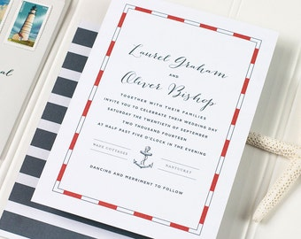 Nautical Letterpress Wedding Invitation - Anchor Wedding Invitation - Stripped Letterpress, Foil Stamp, Flat Printing - Nantucket - DEPOSIT