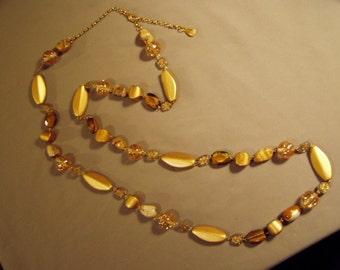 "Vintage Yochi NY Signed Long Chunky Bead Necklace 53"" Gold Tan Stone & Plastic Beads 7958"
