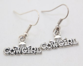 Cowgirl Hat Silver Dangle Earrings