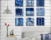 Indigo Tie Dye Batik Glass Wall Art - Handmade Decoupage 5, 6, 7, 8 or 9 inch Set of 9 Square Glass Wall Blocks - I've got the Blues