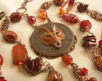 Fox Clock Long Eclectic Russet Tassel Pendant Necklace