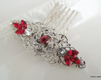 Bridal Rhinestone Hair Comb, Wedding Rhinestone Hair Comb, vintage style Rhinestone Hair Comb, Red Swarovski Crystals hair comb, ROSELANI