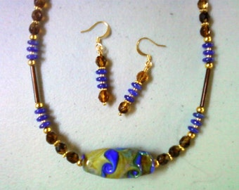 Blue and brown necklace and earrings (0694)