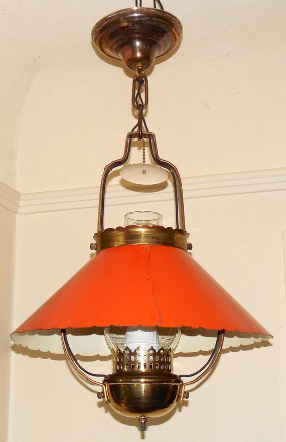 Vintage Victorian Style Hanging Oil Lamp Light Fixture