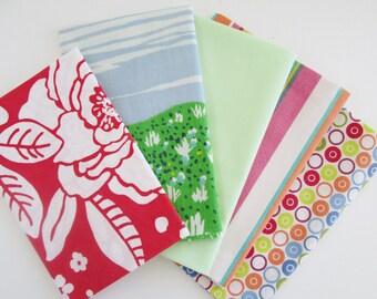 Vintage Sheet Fabric, Reclaimed Bed Linen Fabrics, Fat Quarter Bundle, Bright Fun (5 Pack)
