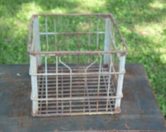 """Chappells Metal Dairy Crate heavy duty crate 12"""" square 10"""" high Chappells dairy crate rusty crusty cratefor storage deco inside and outside"""