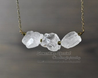 Raw rock crystal necklace Rough clear crystal quartz necklace rock crystal necklace natural stone healing crystal necklace Boho jewelry