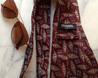 80s Chanel Necktie in Burgundy, Gray and Bronze Silk