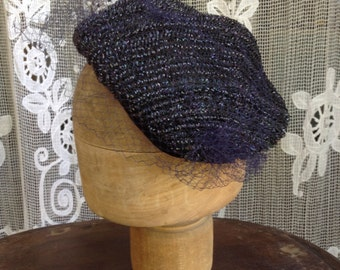 1940s VTG black woven and gros grain bibi hat