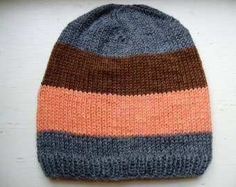 Hand Knit Men's Classic Beanie, Unique Hand Knit Adult Wool Hat - Striped